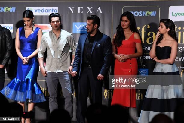 Bollywood actors Kriti Sanon Varun Dhawan Salman Khan Katrina Kaif and Alia Bhatt pose during a press conference ahead of the 18th International...