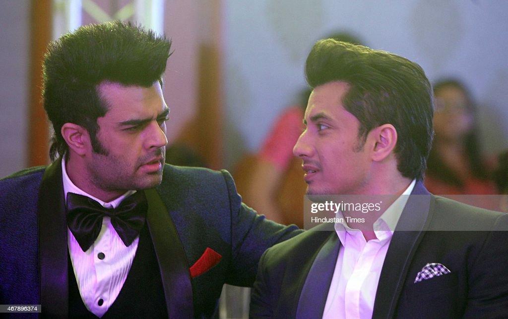 Bollywood actors Manish Paul and Ali Zafar during the Hindustan Times Mumbai's Most Stylish Awards 2015 at JW Mariott Hotel, Juhu on March 26, 2015 in Mumbai, India.