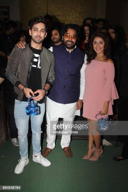 Bollywood actors Manjari Fadnis Himansh Kohli and Ashutosh Rana during the trailer launch of film Jeena Isi Ka Naam Hai at National College Bandra on...