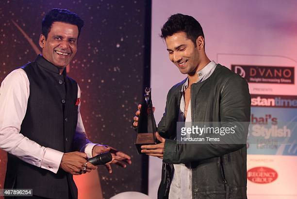 Bollywood actors Manoj Bajpayee and Varun Dhawan during the Hindustan Times Mumbai's Most Stylish Awards 2015 at JW Mariott Hotel Juhu on March 26...