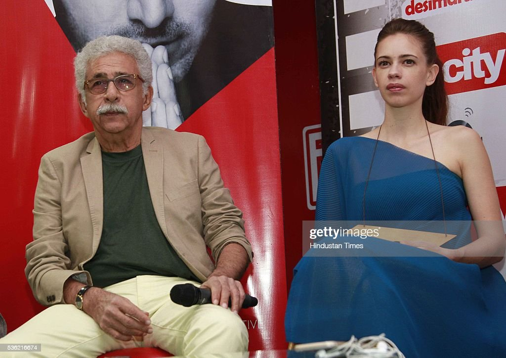 Bollywood actors Naseeruddin Shah and Kalki Koechlin during the interview for promotion of upcoming film Waiting at HT Media office on May 27, 2016 in New Delhi, India.