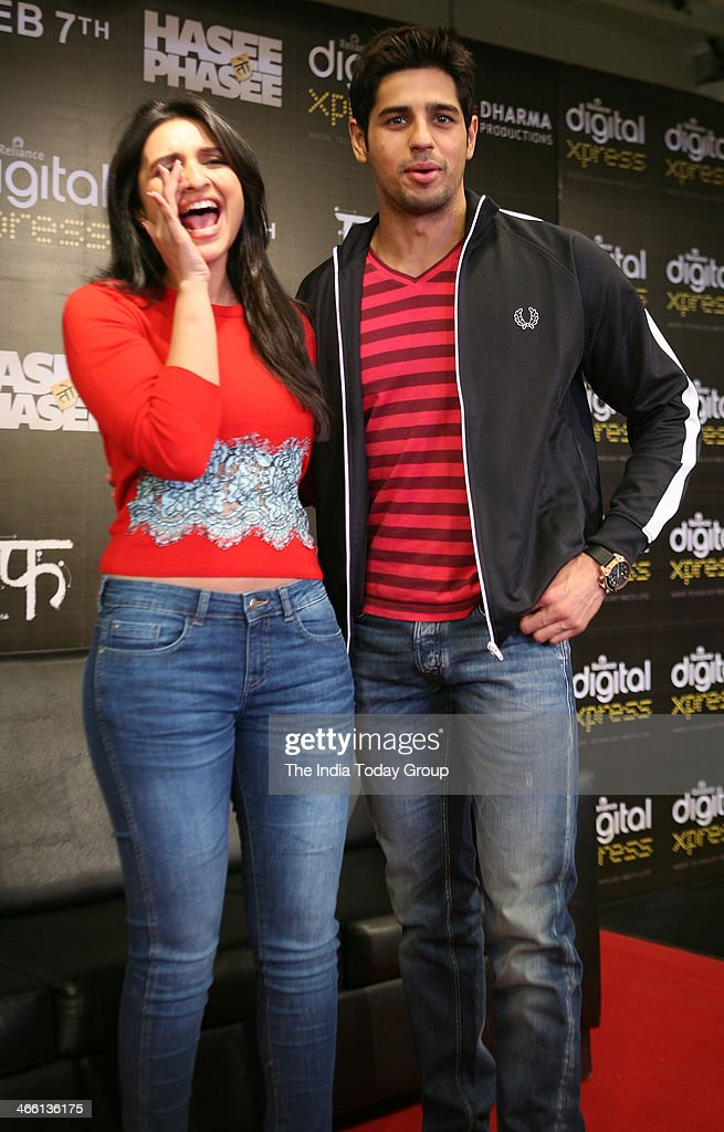Bollywood actors Parineeti Chopra and Siddharth Malhotra at the launch of Hasee Toh Phasee mobile app in Mumbai on 30th January, 2014.