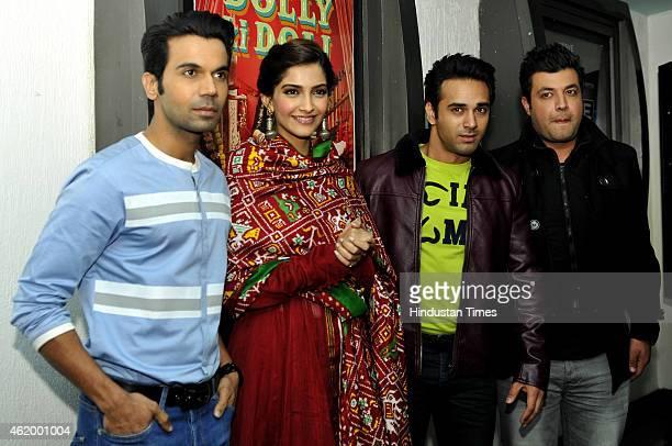 Bollywood actors Rajkummar Rao Sonam Kapoor Pulkit Samrat and Varun Sharma during a promotional event for their upcoming film Dolly ki Doli at Wave...
