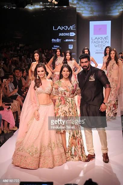 Bollywood actors Rana Daggubati and Amy Jackson with fashion designer Anushree Reddy during the Lakme Fashion Week Winter/Festive 2015 on August 29...