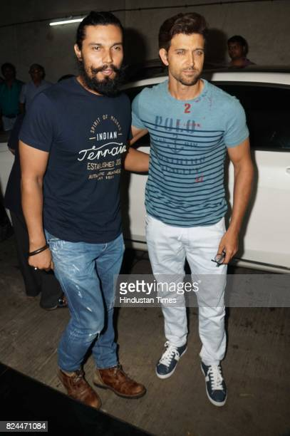 Bollywood actors Randeep Hooda and Hrithik Roshan attends the special screening of movie 'Raag Desh' on July 27 2017 in Mumbai India