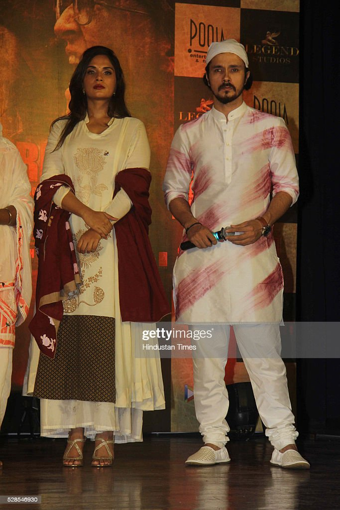 Bollywood actors Richa Chadha and Darshan Kumar during the 3rd death anniversary of Sarabjit Singh - a farmer from Punjab who was convicted of terrorism and spying by a Pakistani court, at ISKCON, Juhu, on May 4, 2016 in Mumbai, India. The function started with the recitation of some hymns from the Guru Granth Sahib, followed by the introduction of Sarabjit's family by the film's cast. The film will be narrated through the perspective of Sarabjit Singh's sister Dalbir Kaur played by Aishwarya Rai. The movie is schedule to release on May 20, 2016.