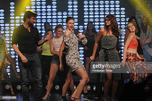 Bollywood actors Saif Ali Khan Kalki Koechlin and Ileana D'Cruz during the music launch of film Happy Ending on October 29 2014 in Mumbai India