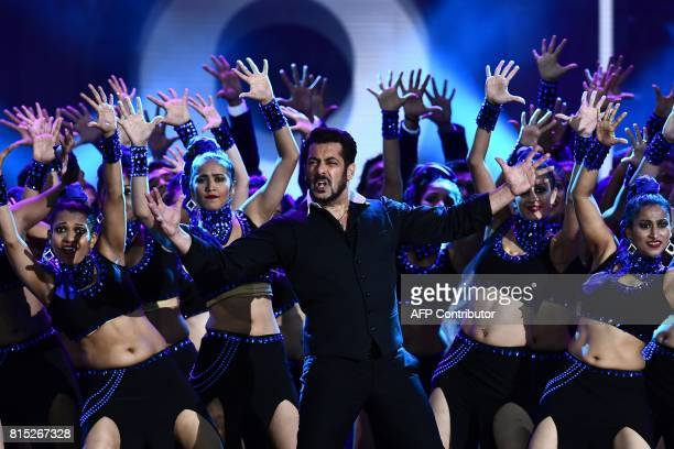 Bollywood actors Salman Khan performs on stage during 18th International Indian Film Academy Festival at the MetLife Stadium in East Rutherford New...