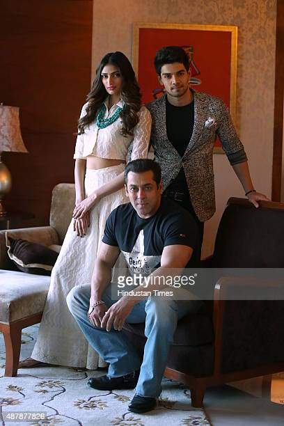 Bollywood actors Salman Khan Sooraj Pancholi and Athiya Shetty during an exclusive interview with HT City/Hindustan Times for the promotion of an...