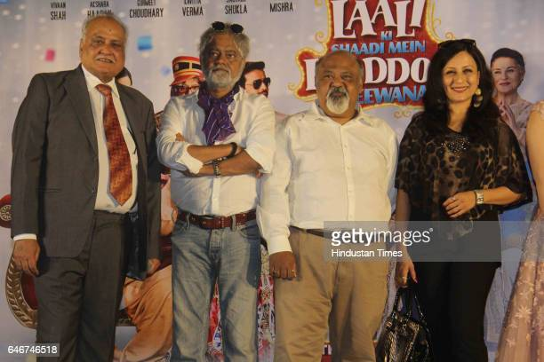 Bollywood actors Saurabh Shukla and Sanjay Mishra during a trailer launch of movie 'Laali Ki Shaadi Mein Laddoo Deewana' at Cinepolis Andheri on...