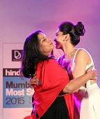 Bollywood actors Shabana Azmi and Deepika Padukone during the Hindustan Times Mumbai's Most Stylish Awards 2015 at JW Mariott Hotel Juhu on March 26...