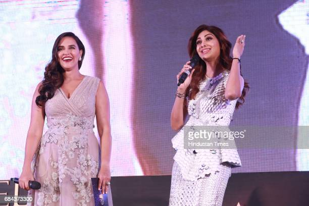 Bollywood actors Shilpa Shetty and Neha Dhupia during the launch of prestigious project Elan Miracle hosted by Real Estate Company Elan Group on May...