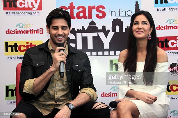 Bollywood actors Sidharth Malhotra and Katrina Kaif during the promotion of upcoming movie 'Baar Baar Dekho' at HT City Office HT House on August 8...