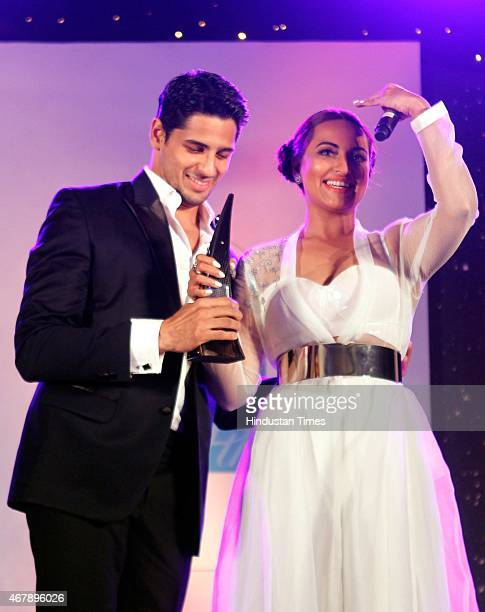 Bollywood actors Sonakshi Sinha and Sidharth Malhotra during the Hindustan Times Mumbai's Most Stylish Awards 2015 at JW Mariott Hotel Juhu on March...
