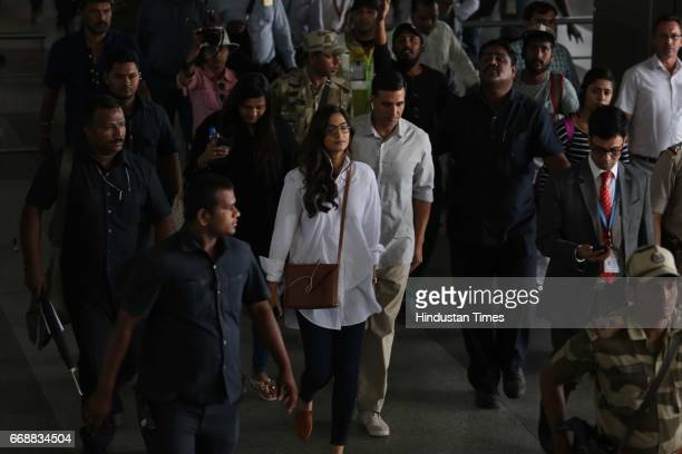 Bollywood actors Sonam Kapoor and Akshay Kumar spotted shooting for director R Balki's film Padman inside Terminal 3 of Indira Gandhi International...