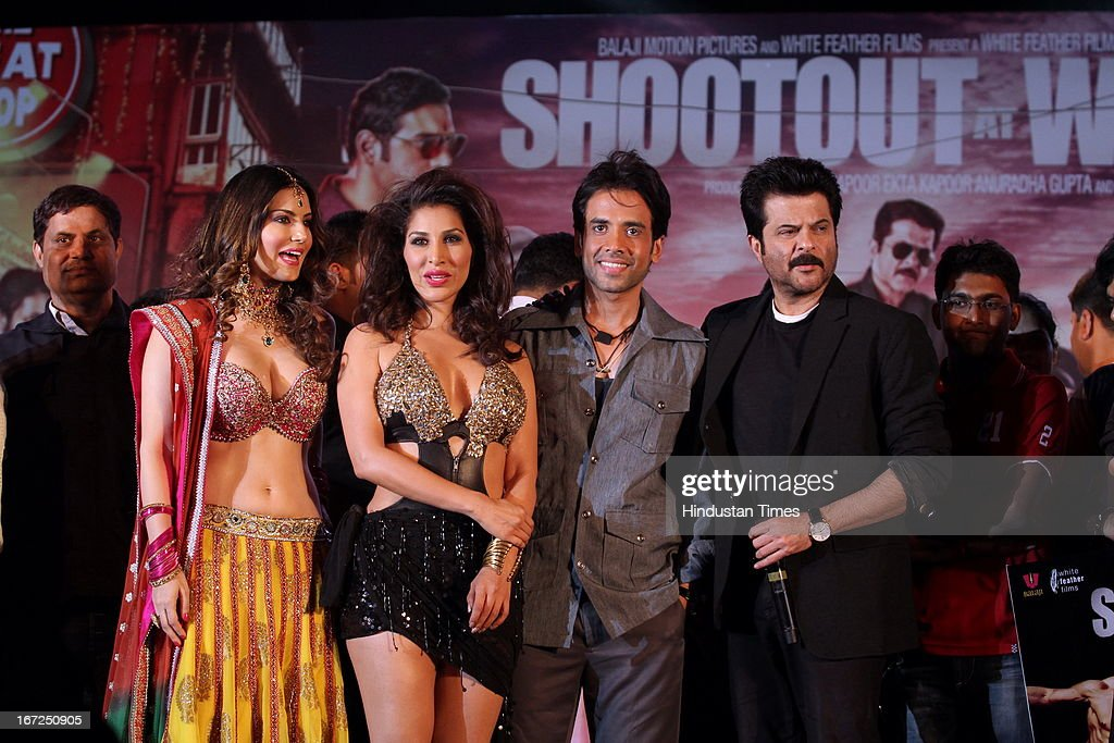 Bollywood actors Sunny Leone, Sophie Choudhry, Tusshar Kapoor and Anil Kapoor during the promotion of their upcoming film 'Shootout At Wadala' at The Great India Place, shopping mall on April 21, 2013 in Noida, India. It is the sequel to 2007 film Shootout at Lokhandwala, and is based on the book Dongri to Dubai written by Hussain Zaidi. The film features John Abraham, Anil Kapoor, Kangna Ranaut, Tusshar Kapoor and Sonu Sood in lead roles. The film was expected to release on May 1, 2013, but has been postponed to release on May 3, 2013.