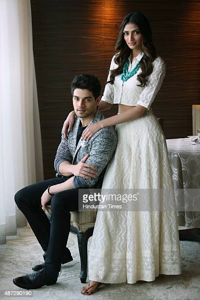 Bollywood actors Suraj Pancholi and Athiya Shetty pose for a profile during an interview on September 5 2015 in New Delhi India