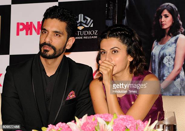 Bollywood actors Taapsee Pannu and Angad Bedi during a press conference for the film Pink at Taj Hotel on September 21 2016 in Kolkata India