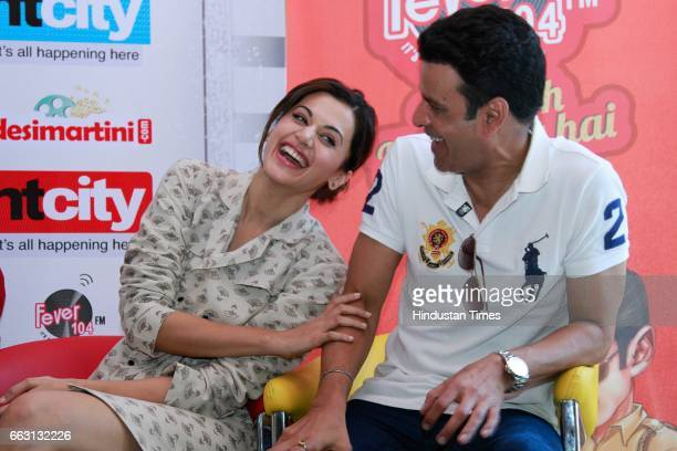 Bollywood actors Taapsee Pannu and Manoj Bajpayee during an exclusive interview with HT CityHindustan Times for the promotion of film 'Naam Shabana'...