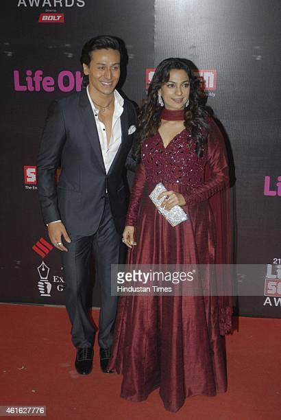 Bollywood actors Tiger Shroff and Juhi Chawla during the 21st Annual Life OK Screen Awards on January 14 2015 in Mumbai India