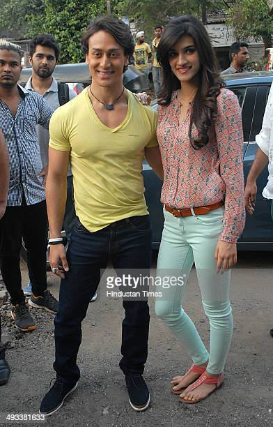 Bollywood actors Tiger Shroff and Kriti Sanon spotted at Juhu Versova link road on May 19 2014 in Mumbai India