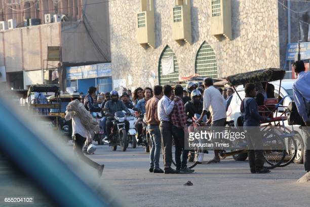 Bollywood actors Tiger Shroff and Nidhhi Agerwal shooting for their upcoming movie Munna Michael at Turkman Gate Old Delhi on March 17 2017 in New...