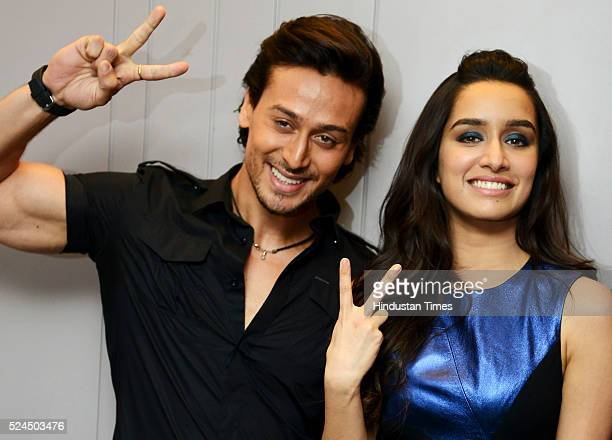 Bollywood actors Tiger Shroff and Shraddha Kapoor during the promotional event of their upcoming movie Bhaggi at Ambience mall on April 26 2016 in...