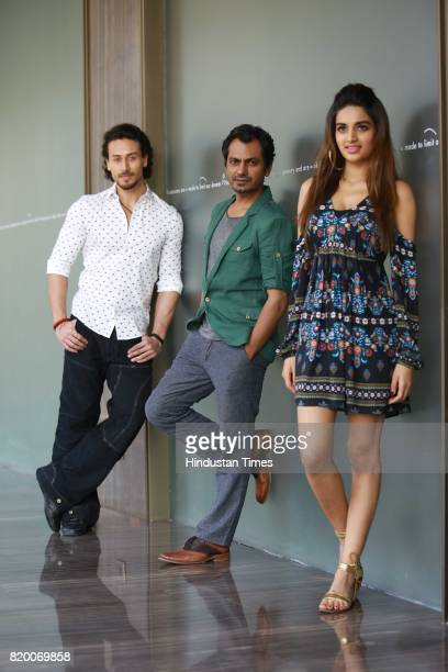 Bollywood actors Tiger Shroff Nawazuddin Siddiqui and Nidhhi Agerwal during an exclusive interview with HT CityHindustan Times for the promotion of a...