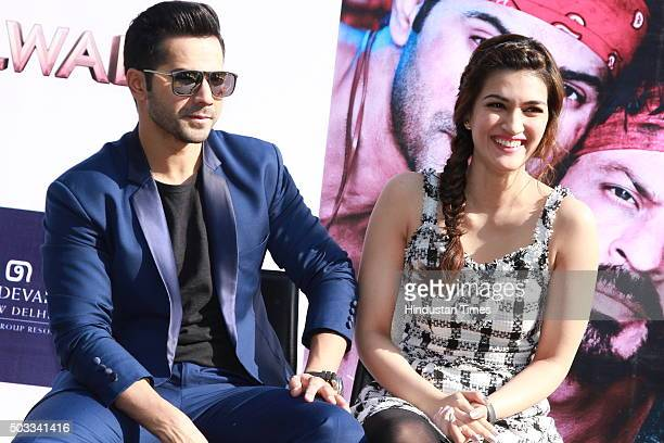 Bollywood actors Varun Dhawan and Kriti Sanon during the promotion of their upcoming movie Dilwale at Dusit Devarana on December 16 2015 in New Delhi...