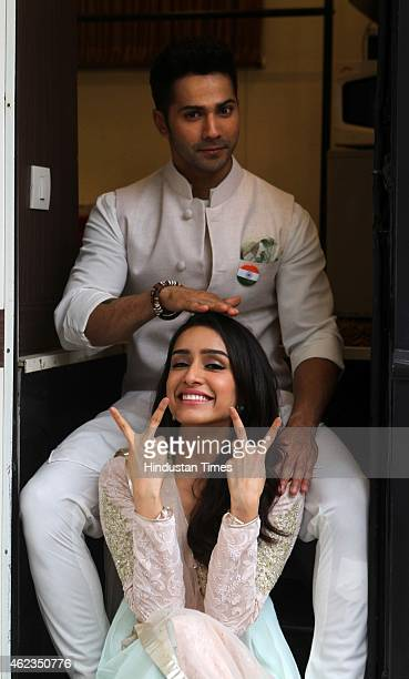 Bollywood actors Varun Dhawan and Shraddha Kapoor during an exclusive photo shoot for Republic Day special at Dada Sahab Phalke Chitranagari on...