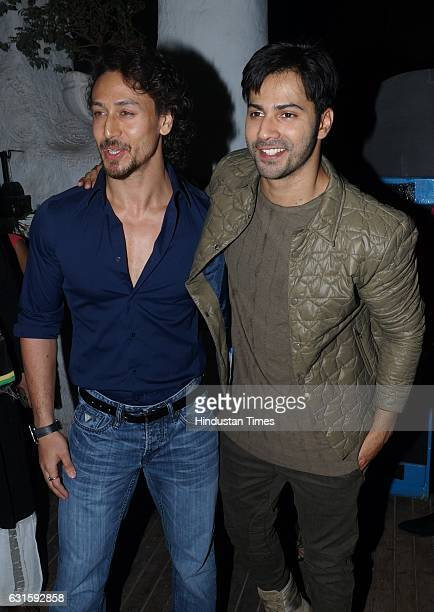 Bollywood actors Varun Dhawan and Tiger Shroff during a calendar launch of fashion photographer Dabboo Ratnani at Olive Bar and Kitchen Khar on...