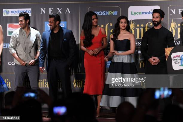 Bollywood actors Varun Dhawan Salman Khan Katrina Kaif Alia Bhatt and Shahid Kapoor pose during a press conference ahead of the 18th International...