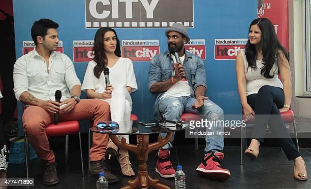 Bollywood actors Varun Dhawan Shraddha Kapoor director Remo D'Souza and Amrita Pandey VP and Head Marketing and Distribution Studios Disney India...
