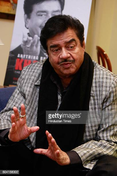 Bollywood actorturnedpolitician Shatrughan Sinha during an exclusive interview with HTCityHindustan Times at Hotel The Claridges on January 6 2016 in...