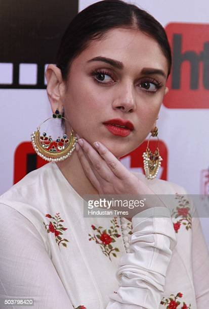 Bollywood actos Aditi Rao Hydari during an exclusive interview with HT CityHindustan Times for the promotion of her upcoming movie Wazir at HT Media...