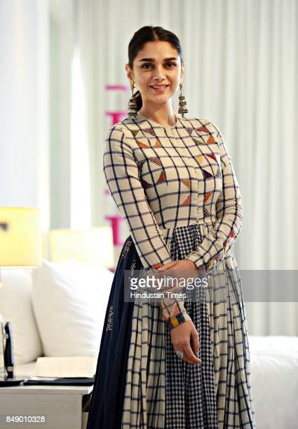 Bollywood actress Aditi Rao Hydari poses for a profile shoot during the promotion of her upcoming movie Bhoomi at Le Meridien Hotel on September 15...