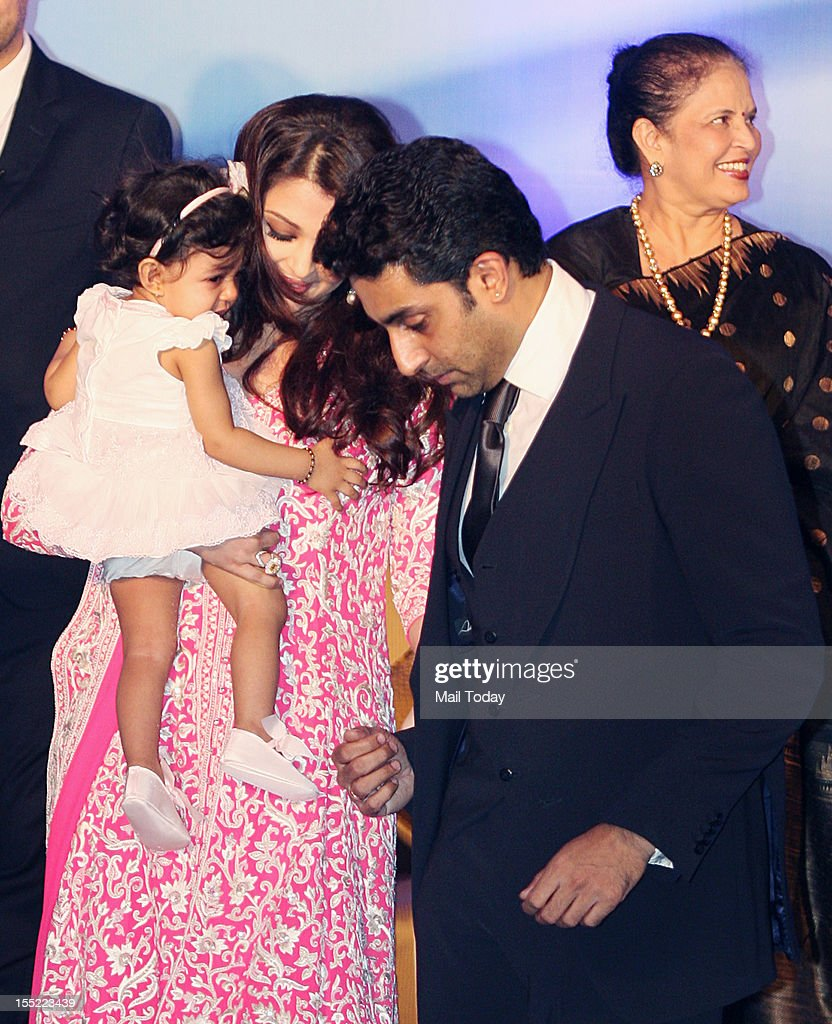 Bollywood actress Aishwarya Rai Bachchan with husband Abhishek Bachchan and daughter Aradhya after she was conferred with the French civilian award, Officer Dan Ordre Arts et des Lettres, on her birthday in Mumbai on Thursday.