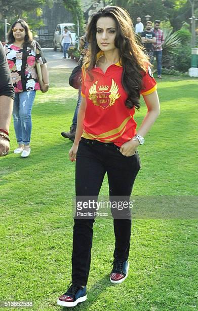 Bollywood Actress Amisha Patel during the launch of firsst team of BCL Punjab Royal Patialvi team to play in the box cricket leaguePunjab at Gymkhana...