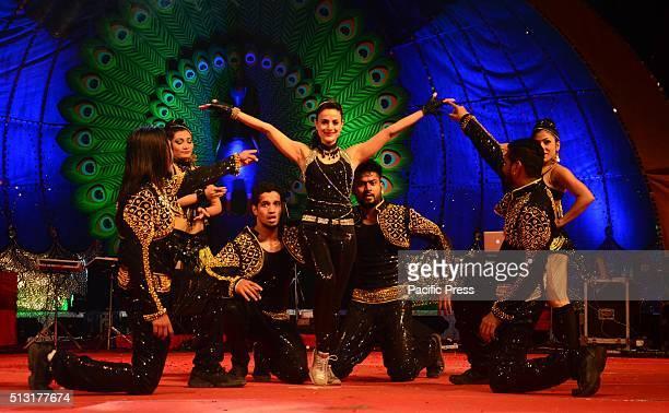 Bollywood actress Amisha Patel performing during Triveni Festival in Allahabad