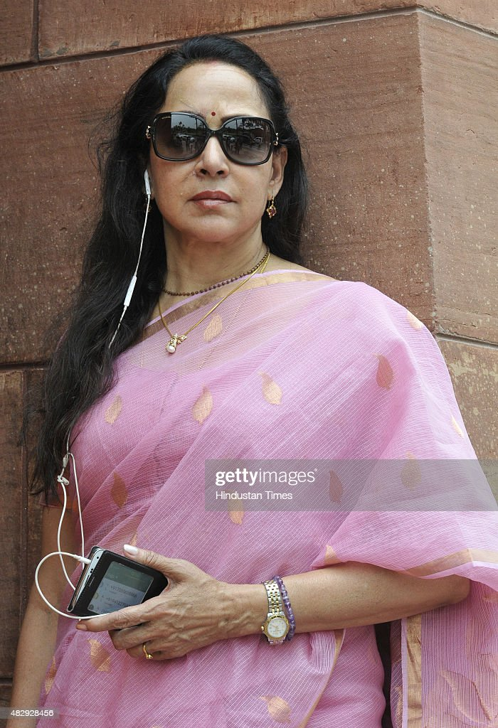 Bollywood actress and BJP MP <a gi-track='captionPersonalityLinkClicked' href=/galleries/search?phrase=Hema+Malini&family=editorial&specificpeople=1026787 ng-click='$event.stopPropagation()'>Hema Malini</a> at the Parliament House, on August 4, 2015 in New Delhi, India. Opposition parties including SP, RJD, Trinamool Congress and the Left also joined with Congress in boycotting the Lok Sabha, paralyzing the upper house and protest.