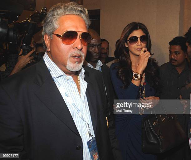Bollywood actress and owner of Rajasthan Royals IPL cricket team Shilpa Shetty with Vijay Mallya owner of Royal Challengers Bangalore team arrive to...