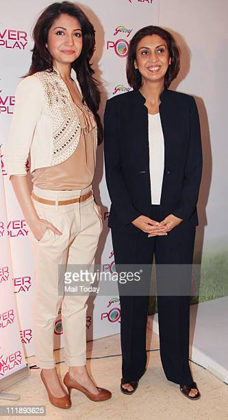 Bollywood actress Anushka Sharma with Executive Director and President Marketing Godrej Group Tanya Dubash at IPL Godrej Power Play launch in Mumbai
