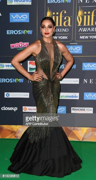 Bollywood Actress Bipasha Basu arrives for the IIFA Awards July 15 2017 at the MetLife Stadium in East Rutherford New Jersey during the 18th...