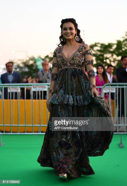 Bollywood actress Dia Mirza arrives for the IIFA Awards of the 18th International Indian Film Academy Festival at the MetLife Stadium in East...