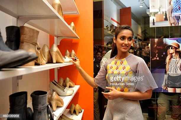 Bollywood actress Ileana D'cruz during an opening ceremony of a shoe store at sector 38A on December 15 2014 in Noida India