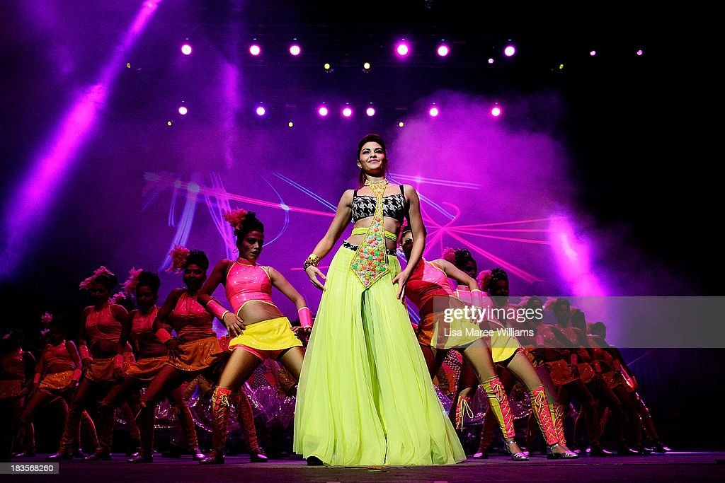 Bollywood actress <a gi-track='captionPersonalityLinkClicked' href=/galleries/search?phrase=Jacqueline+Fernandez&family=editorial&specificpeople=5749256 ng-click='$event.stopPropagation()'>Jacqueline Fernandez</a> performs live for fans at Allphones Arena on October 7, 2013 in Sydney, Australia. This performance of 'Temptation Reloaded' is part of Parramatta's Parramasala Festival 2013.