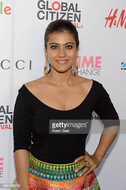 Bollywood actress Kajol Devgan attends the 2015 Global Citizen Festival to end extreme poverty by 2030 in Central Park on September 26 2015 in New...