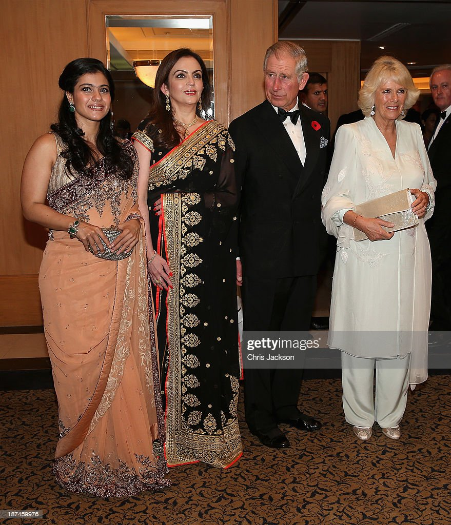Bollywood actress Kajol, <a gi-track='captionPersonalityLinkClicked' href=/galleries/search?phrase=Nita+Ambani&family=editorial&specificpeople=2296479 ng-click='$event.stopPropagation()'>Nita Ambani</a>, <a gi-track='captionPersonalityLinkClicked' href=/galleries/search?phrase=Prince+Charles+-+Prince+of+Wales&family=editorial&specificpeople=160180 ng-click='$event.stopPropagation()'>Prince Charles</a>, Prince of Wales and <a gi-track='captionPersonalityLinkClicked' href=/galleries/search?phrase=Camilla+-+Duchess+of+Cornwall&family=editorial&specificpeople=158157 ng-click='$event.stopPropagation()'>Camilla</a>, Duchess of Cornwall at the British Asian Trust Reception on day 4 of an official visit to India on November 9, 2013 in Mumbai, India. This will be the Royal couple's third official visit to India together and their most extensive yet, which will see them spending nine days in India and afterwards visiting Sri Lanka in order to attend the 2013 Commonwealth Heads of Government Meeting.