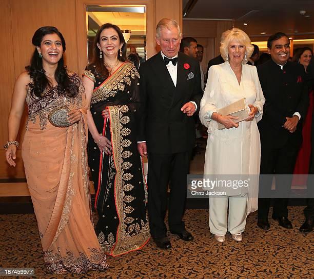 Bollywood actress Kajol Nita Ambani Prince Charles Prince of Wales Camilla Duchess of Cornwall and Mukesh Ambani at the British Asian Trust Reception...