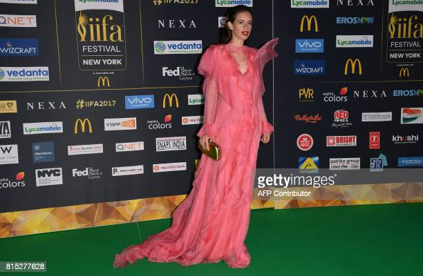 Bollywood actress Kalki Koechlin arrives for the IIFA Awards July 15 2017 at the MetLife Stadium in East Rutherford New Jersey during the 18th...